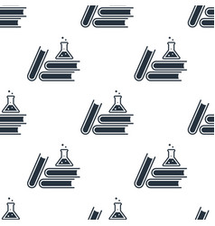 seamless books with flask pattern education vector image