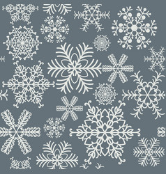 seamless snowflakes pattern gray and white vector image