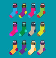 set of colorful socks flat ilustration vector image