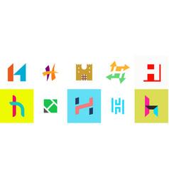 set of letter h logo vector image