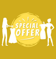 Special offer for shop customers clothes store vector
