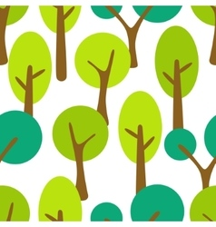 Stylized cartoon tree forest seamless pattern vector image