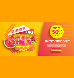 summer big sale banner up to 50 percent discount vector image