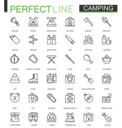 summer outdoor camping thin line web icons set vector image