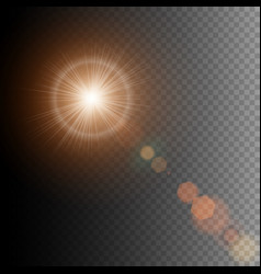 summer sun lens flare with realistic light and vector image