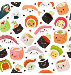 Sushi cartoon japanese food vector