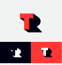T r logo concept red letter with shadow like l vector
