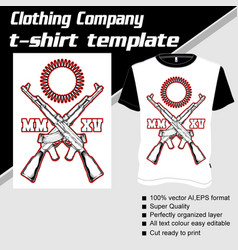 t-shirt template fully editable with gun vector image
