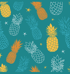 Teal blue and yellow oineapples summer vector