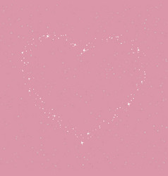 The heart of the stars in the purple rose sky vector