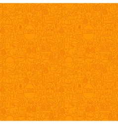 Thin Line Happy Easter Orange Seamless Pattern vector