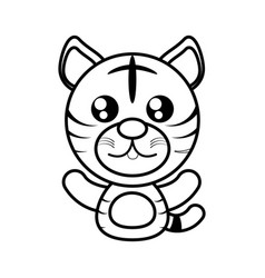 tiger animal toy outline vector image