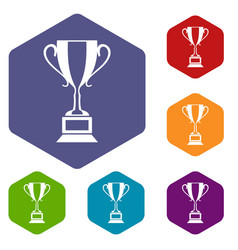 trophy cup icons set vector image
