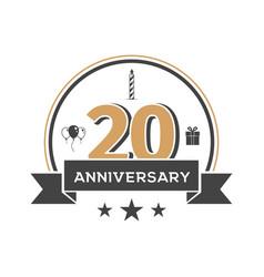 twenty anniversary retro emblem on white vector image