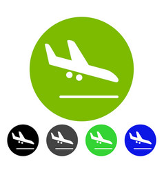 Valid airplane landing flat icon vector