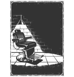 Vintage barbershop background with barber chair vector image