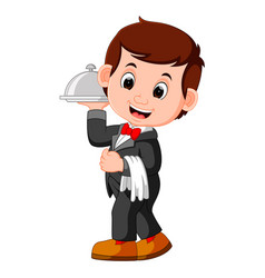 Waiter restaurant serving cartoon vector