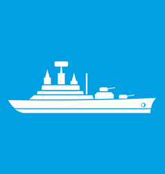 Warship icon white vector