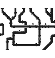 water or gas pipeline plumbing with valves and vector image