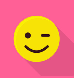 winking smiling emoticon icon flat style vector image