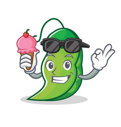With ice cream peas character cartoon style vector