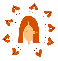 woman hears whispers around her flat doodle vector image
