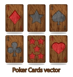 Wooden poker playing card vector image