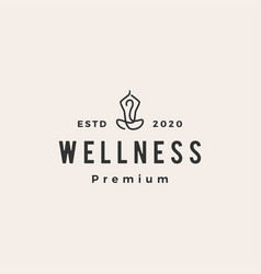 yoga wellness hipster vintage logo icon vector image