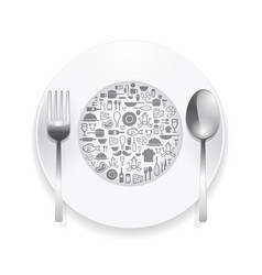 Flat icons plate foods concept vector