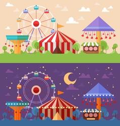 Flat Retro Funfair Scenery vector image