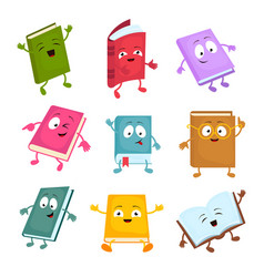 funny and cute cartoon book characters vector image vector image