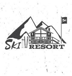 Ski resort concept with ski house vector image vector image