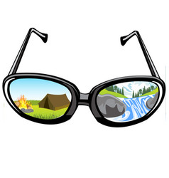 spectacles and reflection of the nature vector image