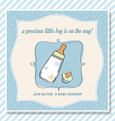 baby boy shower card with milk bottle and pacifier vector image