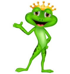 Cute prince frog cartoon presenting vector