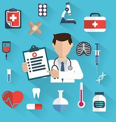Flat health care and medical research background vector image vector image