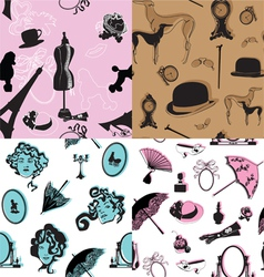 Four seamless pattern with retro theme vector image vector image