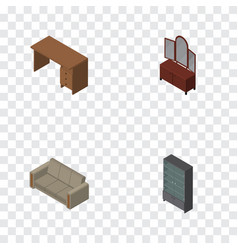 Isometric design set of drawer couch sideboard vector