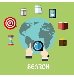 Man conducting a global search vector image