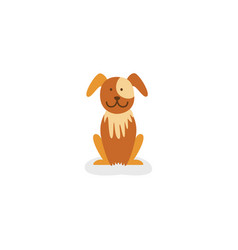 vecot flat brown puppy dog isolated vector image