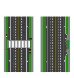 A set of road sections stop transition bicycle vector