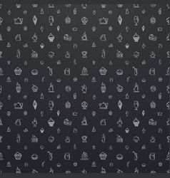 Large seamless black pattern with white elements vector