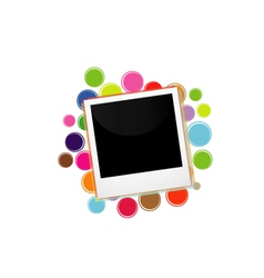 Polaroid on a colorful circles vector image vector image