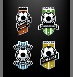 set of soccer football logo emblem on a dark vector image vector image