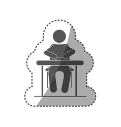 Sticker black silhouette pictogram sitting in vector
