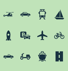 Transport icons set collection of bicycle vector