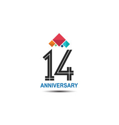 14 anniversary logotype with colorful crown vector