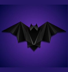 3d of origami bat on violet background halloween vector image