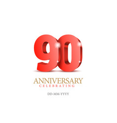 Anniversary 90 red 3d numbers vector