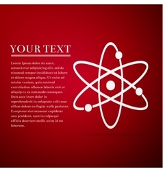 Atom flat icon on red background vector